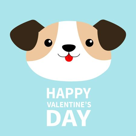 Happy Valentines Day. Dog face head round icon. Cute cartoon kawaii funny baby character. White puppy pooch. Flat design style. Help homeless animal. Adopt me. Pet adoption. Blue background. Vector