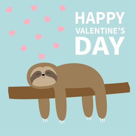 Happy Valentines Day. Sloth sleeping on tree branch. Pink heart. Cute lazy cartoon kawaii funny character. Slow down. Wild joungle animal collection. Isolated. Blue background. Flat design. Vector Illustration