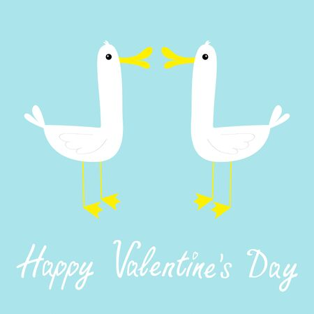 Happy Valentines Day. Two goose love couple farm bird icon set. Cute cartoon funny kawaii baby character. Flat design. Greeting card. White and yellow color. Blue background. Isolated. Vector Ilustracja