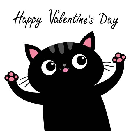 Happy Valentines Day. Black cat with pink tongue. Open hand paw print. Kitty reaching for a hug. Funny Kawaii animal. Cute cartoon baby character. Pet collection. Flat design White background. Vector Illustration