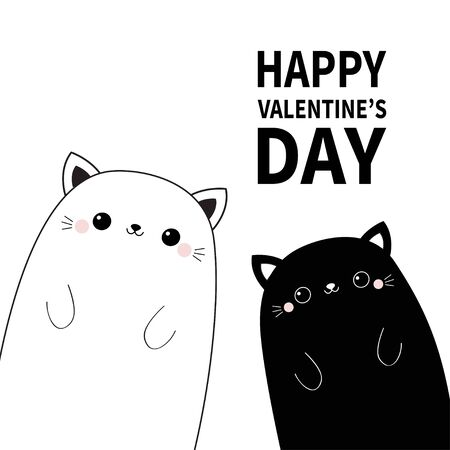 Happy Valentines Day. Black and white cat head face line contour silhouette set. Pink blush cheeks. Funny kawaii smiling animal. Cute cartoon funny pet character. Flat design Baby background. Vector Banco de Imagens - 139895603