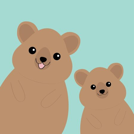 Two quokka head face silhouette family set. Pink blush cheeks. Cute cartoon funny pet baby character. Funny kawaii smiling animal. Happy Valentines Day. Flat design Blue background. Vector Banco de Imagens - 139895604