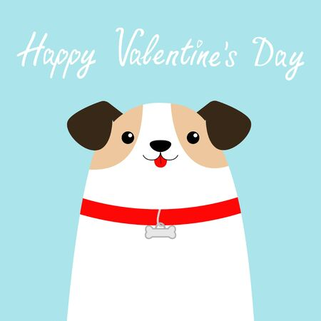 Happy Valentines Day. Dog face head. White puppy pooch. Red collar bone. Cute cartoon funny baby character. Flat design style. Help homeless animal Adopt me Pet adoption. Blue background Vector