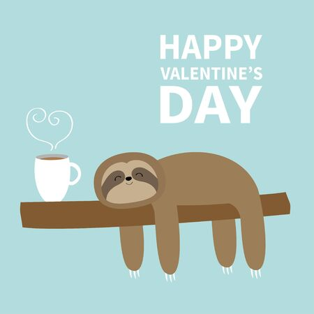 Happy Valentines Day. Sloth sleeping on tree branch. I love coffee cup drink. Cute lazy cartoon funny character. Slow down. Wild joungle animal Blue background. Flat design. Vector illustration
