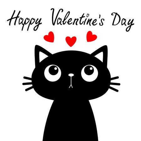 Happy Valentines Day. Cat looking at three red heart set. Cute cartoon funny character. pet baby animal. Black silhouette sticker print. Flat design. White background. Vector illustration