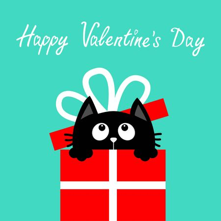 Cat inside red giftbox with bow. Happy Valentines Day. Cute cartoon funny animal. Kitten looking up. Kitty holding gift present box. Flat design. Blue background. Isolated. Vector illustration