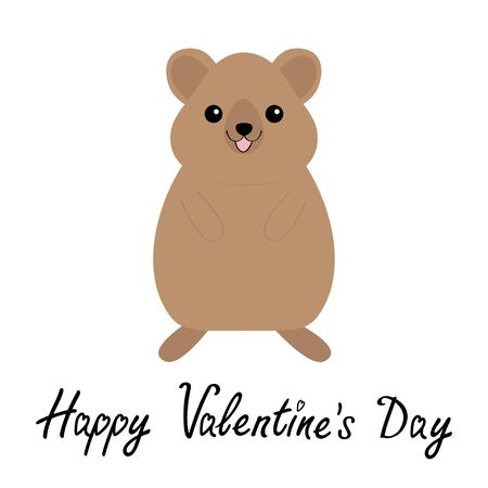 Happy Valentines Day. Qokka. Cute cartoon kawaii funny character. Smiling laughing animal of Australia. Flat design. Isolated. White background. Vector illustration Vector Illustration