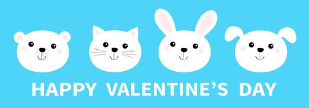 Happy Valentines Day. Bear, cat, dog, rabbit. Animal head face round icon set line. White color. Cute cartoon kawaii funny baby character. Flat design. Isolated. Blue background. Vector illustration