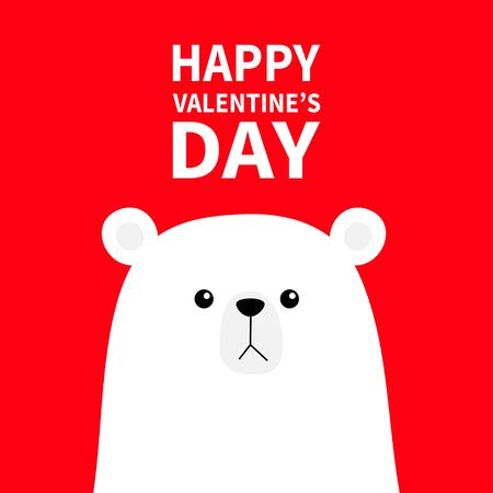 Polar white bear cub face. Happy Valentines Day. Cute cartoon kawaii funny baby character. Arctic animal. Love greeting card. Flat design. Red background. Vector illustration
