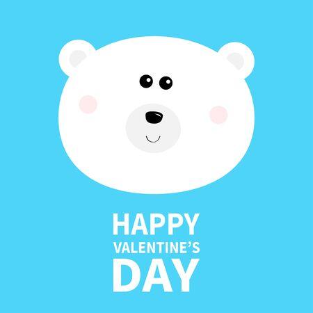 Polar white bear cub round face head. Happy Valentines Day. Cute cartoon kawaii funny baby character. Arctic animal. Love greeting card. Flat design. Blue background. Vector illustration