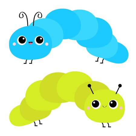 Caterpillar insect icon set. Cute crawling catapillar bug. Cartoon funny baby animal character. Smiling face. Colorful bright blue green color. Flat design. White background. Isolated. Vector
