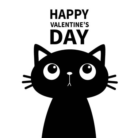 Cat looking up at text. Happy Valentines Day. Cute cartoon funny character. pet baby animal. Black silhouette sticker print. Flat design. White background. Vector illustration