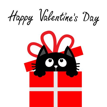 Happy Valentines Day. Cat inside red giftbox with bow. Cute cartoon funny animal. Kitten looking up. Kitty holding gift present box. Flat design. White background. Isolated. Vector illustration