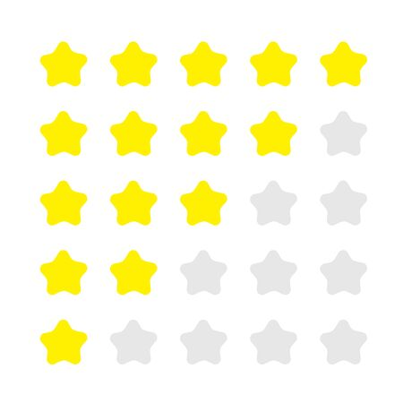 5 star rating icon set. Customer review survey. Feedback concept. Isolated. White background. Flat design. Vector illustration