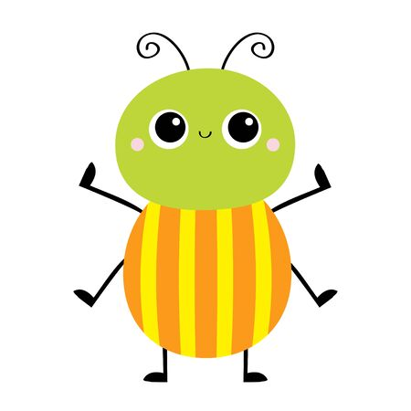 Cartoon beetle bug. Insect animal. Cute smiling baby character. Green orange yellow color. Education cards for kids. White background. Isolated. Flat design. Vector illustration Banque d'images - 140909004