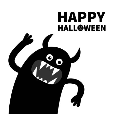 Happy Halloween. Monster screaming spooky silhouette. Two eyes, teeth fang, hands up. Black Funny Cute cartoon character. Baby collection. Flat design. White background. Vector illustration