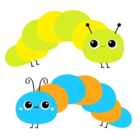 Cute crawling caterpillar bug. Caterpillar insect icon set. Cartoon funny baby animal character. Colorful bright blue green yellow orange color. Flat design. White background. Isolated. Vector