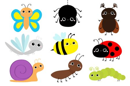 Insect set. Ladybug ladybird, beetle, dragonfly, green caterpillar, ant, butterfly, spider honey bee snail. Cute cartoon baby animal character. Flat design. White background Isolated. Vector