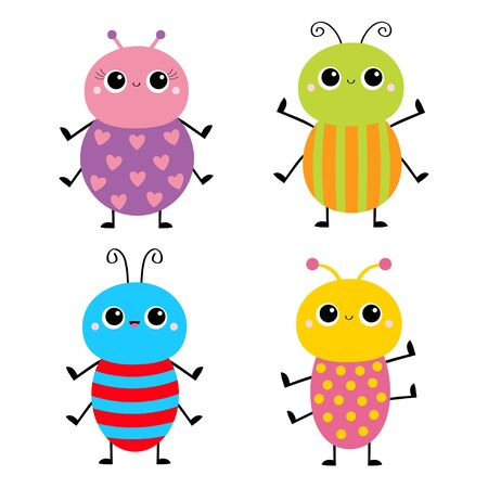 Beetle bug set. Insect animal. Cute cartoon smiling baby character. Blue red color. Education cards for kids. Isolated. White background. Flat design. Vector illustration Illustration