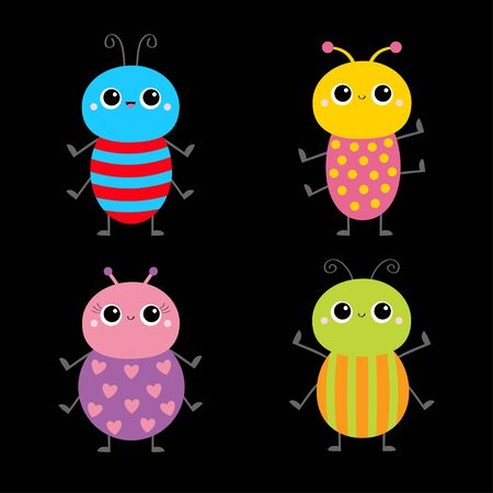 Beetle bug set. Insect animal. Cute cartoon smiling baby character. Blue red color. Education cards for kids. Black background. Isolated. Flat design. Vector illustration