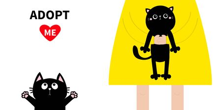 Adopt me. Girl holding black kitten. Cute cartoon funny baby chatacter. Hanging body paw print, tail. Reaching for hug. et collection. animal. Flat design. White background. Isolated. Vector