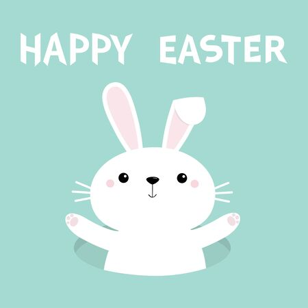 Bunny waving paw print hand. Rabbit hole. Happy Easter. Cute cartoon funny baby character. White farm animal collection. Blue background. Isolated. Flat design. Vector illustration