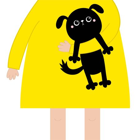 Girl holding black dog puppy. Cute cartoon funny baby chatacter. Hanging body paw print, tail. Black animal. Adopt me. Pet collection. Flat design. White background. Isolated. Vector Illustration