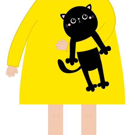 Girl holding black cat kitten. Cute cartoon kawaii funny baby chatacter. Hanging body paw print, tail. Black animal. Adopt me. Pet collection. Flat design. White background. Isolated. Vector
