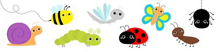 Snail, beetle, ladybug ladybird, dragonfly ant, butterfly, green caterpillar, spider honey bee. Insect set. Cute cartoon kawaii baby animal character. Flat design. Isolated White background. Vector