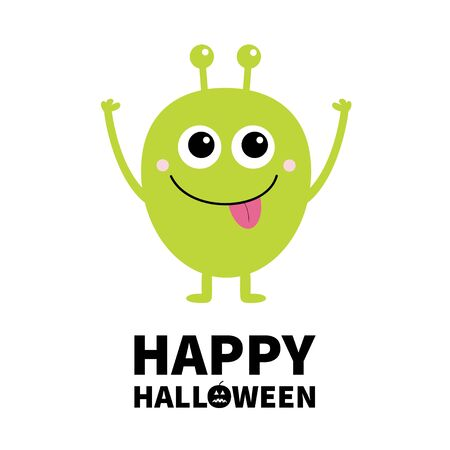 Happy Halloween. Green monster with big eyes, tongue and horns. Funny Cute cartoon kawaii character. Baby collection. Flat design. Greeting card. Isolated. White background. Vector illustration Ilustração