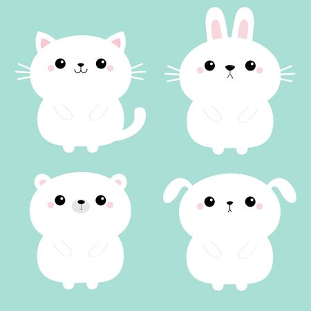 White cat kitten kitty, bear, dog puppy, rabbit bunny hare icon set. Kawaii animal. Cute cartoon character. Funny baby. Love card. Flat design. Blue background. Isolated. Vector illustration