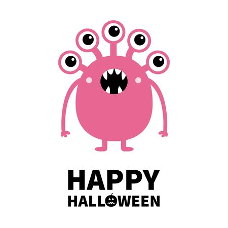 Happy Halloween. Pink monster with many eyes, fang teeth. Funny Cute cartoon character. Baby collection. Flat design. Greeting card. White background. Isolated. Vector illustration