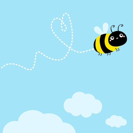 Bee icon. Dash line heart. White clouds. Flying insect collection. Cute cartoon kawaii funny baby caharacter. Happy Valentines Day. Flat design. Blue sky background. Isolated. Vector illustration