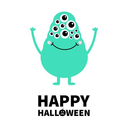 Happy Halloween. Green monster with many eyes, hands up. Funny Cute cartoon kawaii character. Baby collection. Flat design. Greeting card. Isolated. White background. Vector illustration