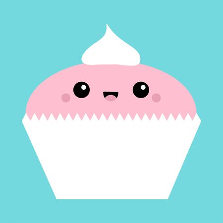 Cupcake icon. Cute cartoon kawaii funny smiling baby character. Face with eyes, mouth, blush cheek. Happy Valentines day sign symbol. Flat design style. Greeting card. Isolated Blue background Vector  イラスト・ベクター素材