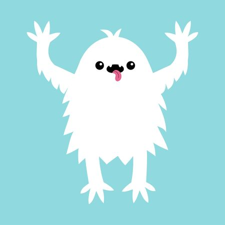 Monster screaming spooky fluffy silhouette. Yeti bigfoot fur. Eyes, tongue, teeth, hands up. White Funny Cute cartoon kawaii baby character. Happy Halloween. Flat design. Blue background. Vector