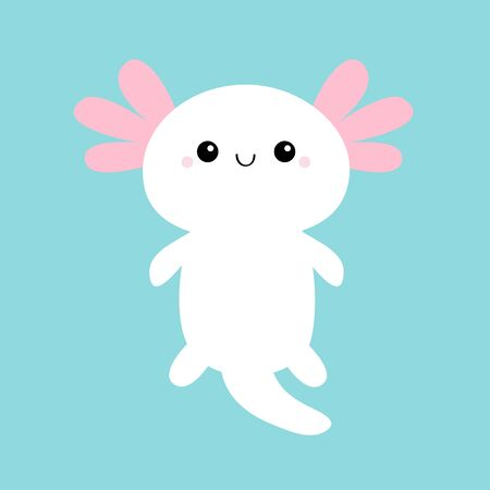 Axolotl. Mexican salamander. White axolotyl. Ambysoma mexicanum. Cute cartoon kawaii funny smiling baby character. Water dragon. Pink horns. Flat design. Blue background. Isolated. Vector illustration