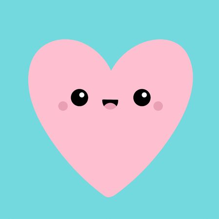 Pink heart face head icon. Cute cartoon kawaii funny smiling baby character. Eyes, mouth, blush cheek. Happy Valentines day sign symbol. Flat design. Greeting card. Isolated. Blue background. Vector