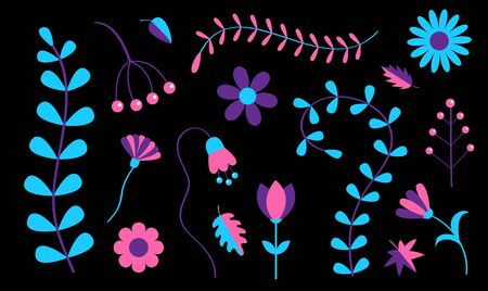 Flower set. Daisy chamomile, bluebell, bell, grass fern. Cute garden growing plant. Camomile icon. Purple, violet, pink, blue ultraviolet neon glowing color. Flat design. Black background Vector
