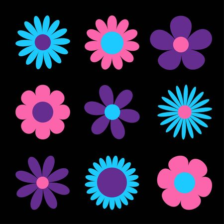 Daisy chamomile. Cute big flower plant collection. Love card. Camomile icon. Purple, violet, pink, blue ultraviolet neon glowing color light. Growing concept. Flat design. Black background. Vector