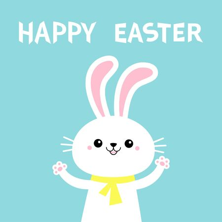 Happy Easter. Rabbit bunny holding paw print hands up. Yellow scarf. Cute cartoon kawaii funny baby character. White farm animal. Blue background. Isolated. Flat design. Vector illustration  イラスト・ベクター素材