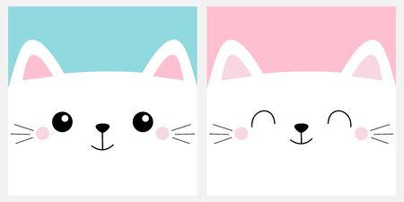 White cat head face square icon set. Cute cartoon kawaii funny character. Moustaches. Pet baby print for notebook cover, greeting card. Happy Valentines Day. Flat design. Blue pink background. Vector