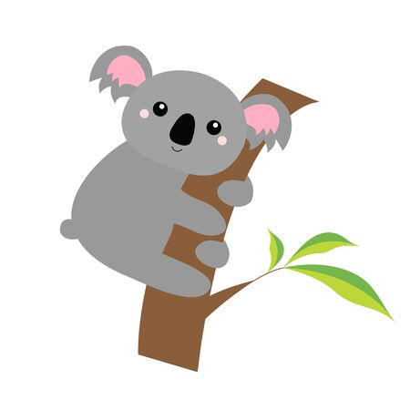 Koala bear face head on the tree branch. Cute cartoon funny baby character. Gray silhouette. Kawaii animal. Notebook cover, t-shirt print. Love Greeting card. Flat design. White background. Vector