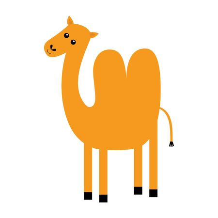 Camel icon. Two hump. Cute cartoon funny kawaii character. Desert animal collection. Baby clothes kids tshirt notebook cover print. Orange color. White background. Isolated. Flat design. Vector