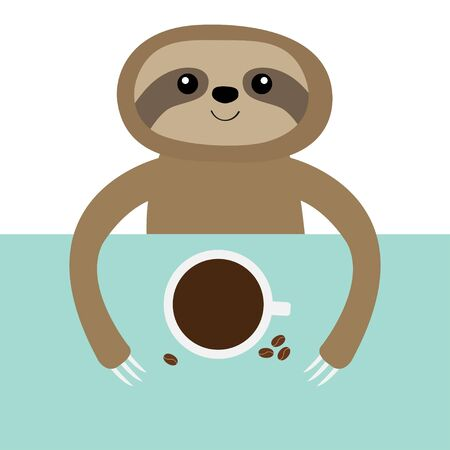 Sloth and coffee cup. Teacup on table. Cute cartoon kawaii funny lazy baby character. Wild jungle animal collection. Slow down. Blue background. Isolated. Flat design. Vector illustration