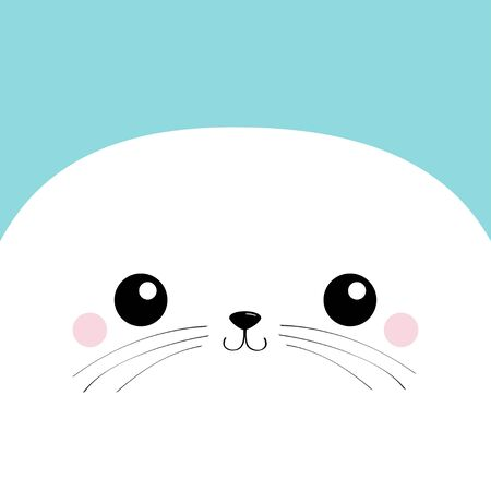 White Sea lion head face square icon. Harp seal pup. Pet baby print for notebook cover, greeting card. Cute cartoon kawaii funny character. Happy Valentines Day. Flat design. Blue background. Vector
