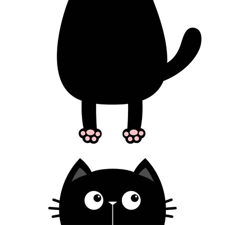 Black cat look right side. Funny face head silhouette. Hanging fat body paw print, tail. Kawaii animal. Baby card. Notebook cover. Cute cartoon character. Pet collection. Flat. Blue background. Vector