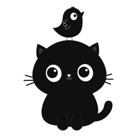 Black cat kitten silhouette Bird on head. Cute cartoon funny character. Kawaii baby pet animal. Notebook cover, tshirt, greeting card print. Scandinavian style. Flat design. White background. Vector Vektorgrafik