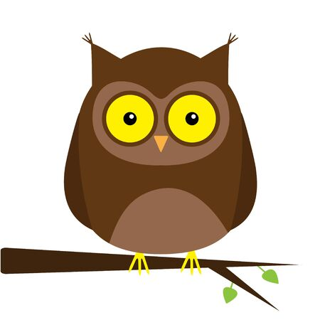 Owl on the tree branch with leaf. Big yellow eyes. Cute cartoon kawaii funny baby character. Notebook cover, t-shirt print. White background. Isolated. Flat design. Vector illustration