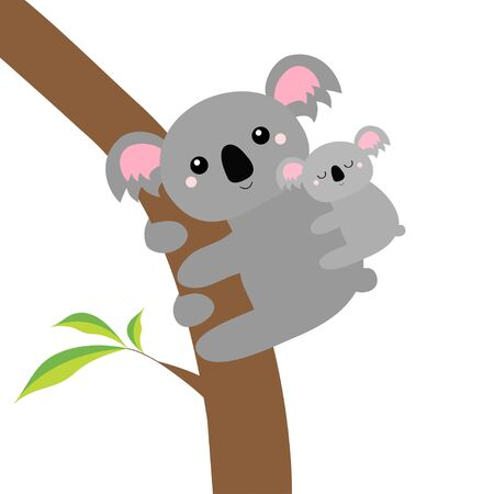 Koala bear face head on the tree branch. Cute cartoon funny baby character. Mother and baby. Kawaii animal. Notebook cover, t-shirt print. Love Greeting card. Flat design. White background. Vector Vettoriali